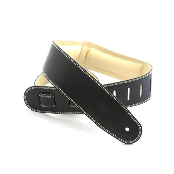 DSL Leather 2.5 Inch Padded Garment Leather Guitar Strap, Black/Beige