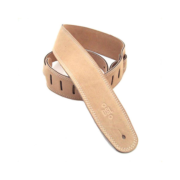 DSL Leather 2.5 Inch Triple Ply Suede Guitar Strap, Beige