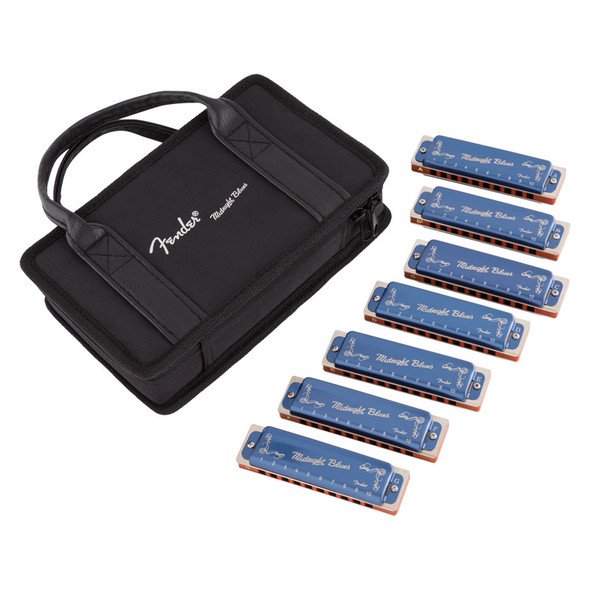 Fender Midnight Blues Harmonicas, 7 Pack with Case