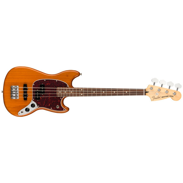 Fender Mustang Bass Guitar PJ, Aged Natural, Pau Ferro  (ex-display)