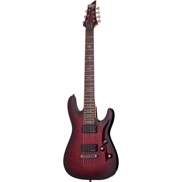 Schecter Demon-7 Electric Guitar, Crimson Red Burst