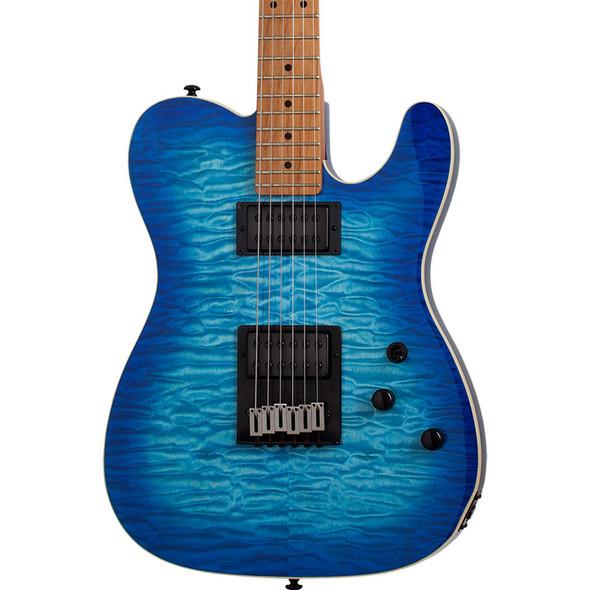 Schecter PT PRO Maple Electric Guitar, Trans Blue Burst