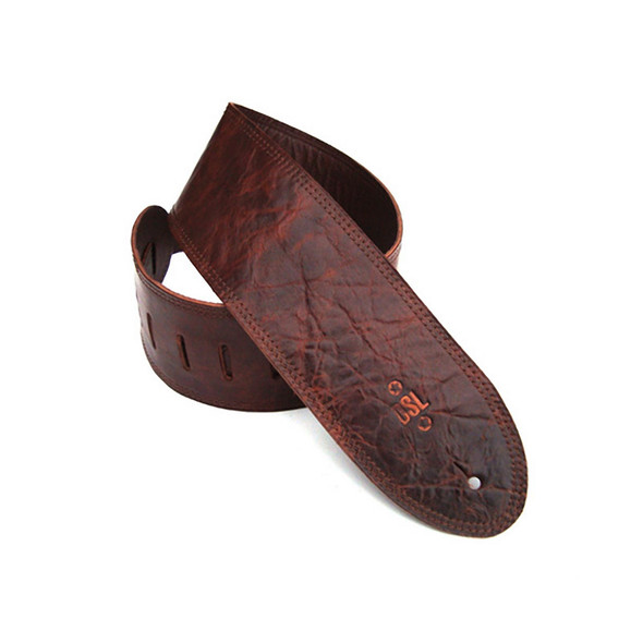 DSL Leather 3.5 Inch Leather Guitar Strap, Distressed Brown