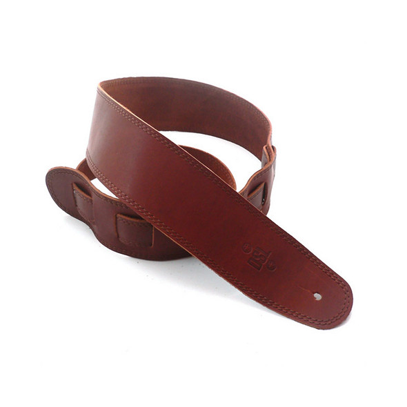 DSL Leather 2.5 Inch Single Ply Leather Guitar Strap, Maroon/Brown Stitching