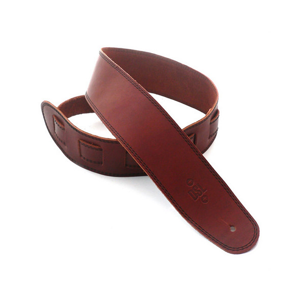 DSL Leather 2.5 Inch Single Ply Leather Guitar Strap, Maroon/Black Stitching