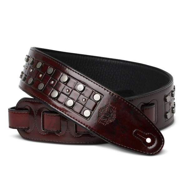 Isuzi DLX21-1 Garment Leather Guitar Strap, Red/Brown