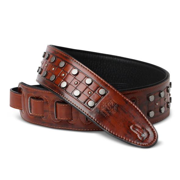 Isuzi DLX21-2 Garment Leather Guitar Strap, Light Brown