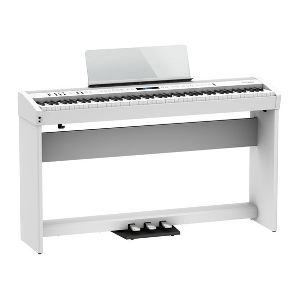 Roland FP-60X Digital Piano with Stand and Pedalboard, White