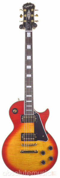 Epiphone Les Paul Custom Electric Guitar, Flame Top, Cherry Sunburst with Case (pre-owned)
