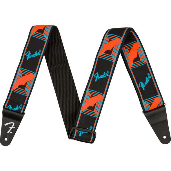 Fender Neon Monogrammed Guitar Strap, Blue/Orange