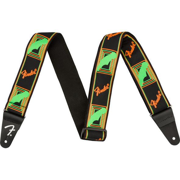 Fender Neon Monogrammed Guitar Strap, Green/Orange