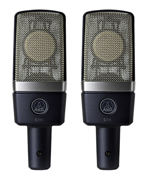 AKG C214 Matched Pair Condenser Microphone Set (as new)