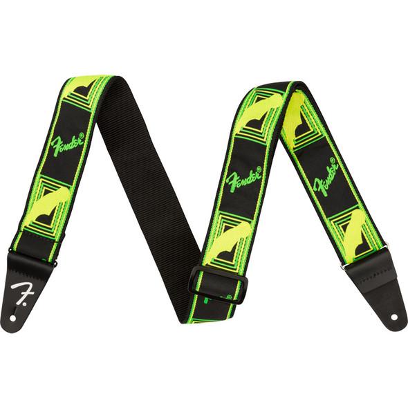 Fender Neon Monogrammed Guitar Strap, Green/Yellow