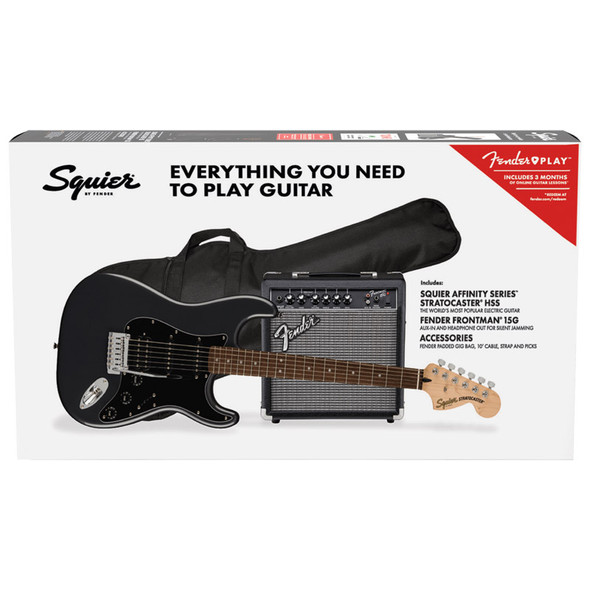 Fender Squier Affinity Stratocaster HSS Pack, Charcoal Frost Metallic