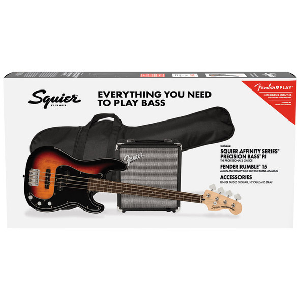 Fender Squier Affinity Series Precision Bass PJ Pack, 3 Colour Sunburst