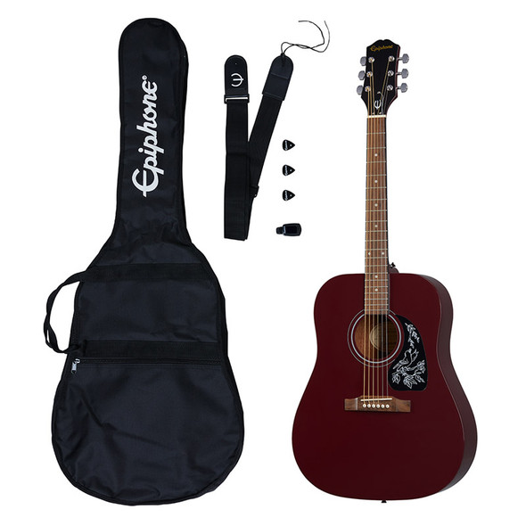 Epiphone Starling Acoustic Player Pack, Wine Red (Inc Gig Bag, Strap, Tuner & Plectrums)