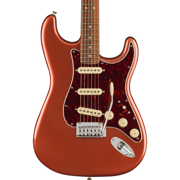 Fender Player Plus Stratocaster Electric Guitar, Aged Candy Apple Red, Pau Ferro