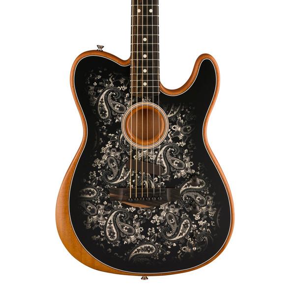 Fender Ltd Edition Acoustasonic Telecaster Electric Guitar, Black Paisley