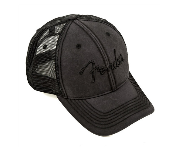 Fender Blackout Trucker Hat, Black, Onesize
