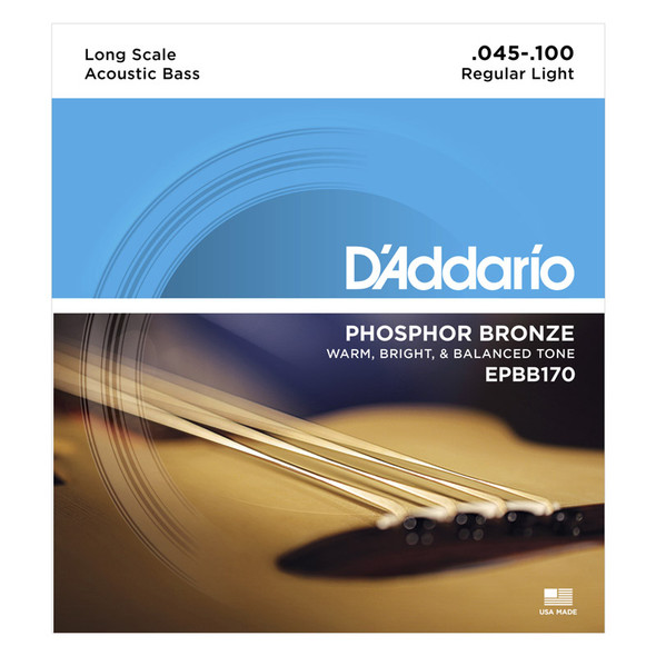 D'Addario EPBB170 Phosphor Bronze Acoustic Bass Strings, Long Scale, 45-100