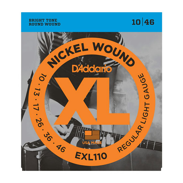 D'Addario EXL110 Nickel Wound Electric Guitar Strings, Regular Light, 10-46