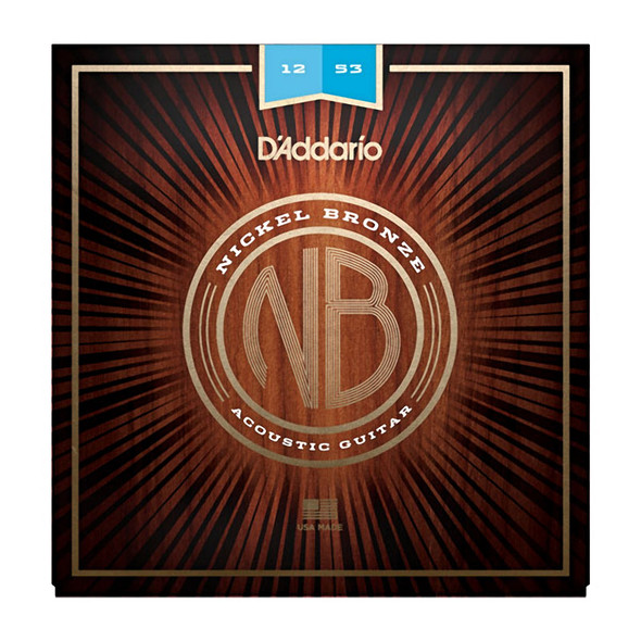 D Addario NB1253 Nickel Bronze Acoustic Guitar Strings, Light, 12-53