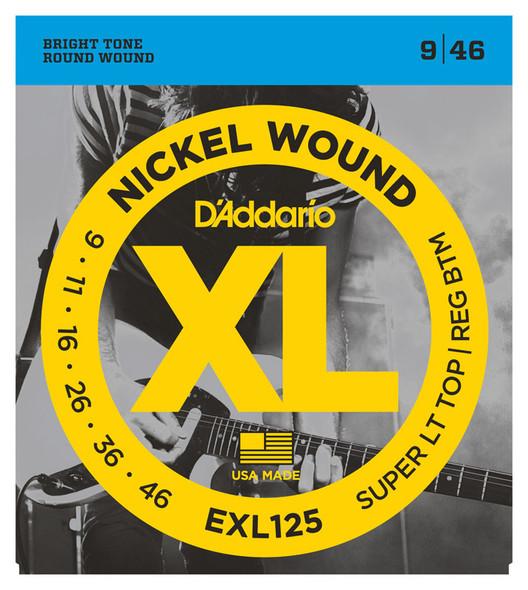 D'Addario EXL125 Nickel Wound Electric Guitar Strings, Super Light Top/ Regular Bottom, 9-46