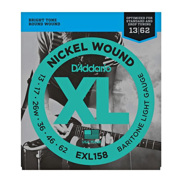 D'Addario EXL158 Nickel Wound Electric Guitar Strings, Baritone Light, 13-62