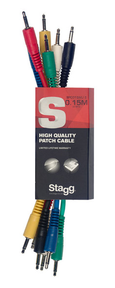 Stagg SPC015MJ E 15cm Mono Minijack Patch Cable Set, Six Pack