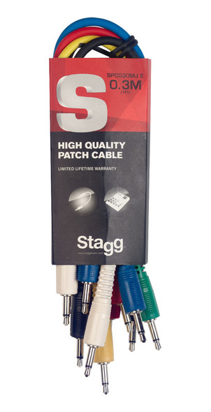 Stagg SPC030MJ E 30 cm Mono Minijack Patch Cable Set, Six Pack