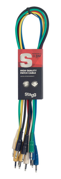 Stagg SPC060MJ E 60cm Mono Minijack Patch Cable Set, Six Pack