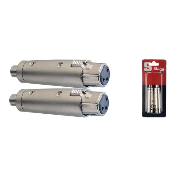 Stagg AC-XFCFH RCA Phono to Female XLR Adaptors (Twin Pack)