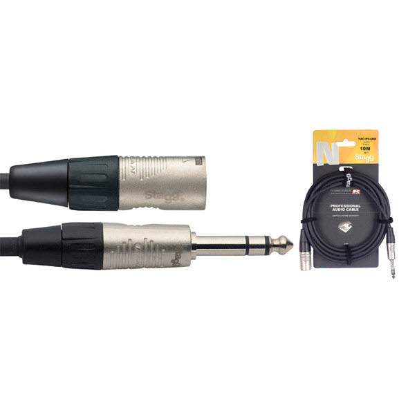 Stagg NAC10PSXMR 10M/33F Balanced Jack to Male XLR Cable