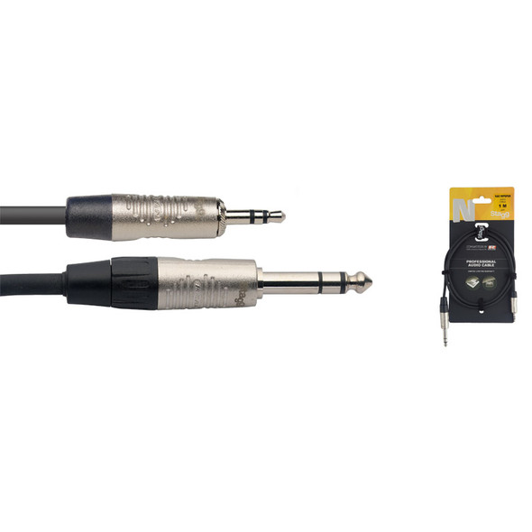 Stagg NAC1MPSPSR 1m/3ft Stereo Minjack to Balanced 1/4 inch Male Jack Cable