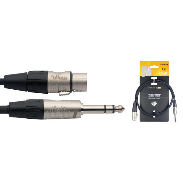 Stagg NAC1PSXFR 1m/3ft Balanced 1/4 inch Male Jack to Female XLR Cable