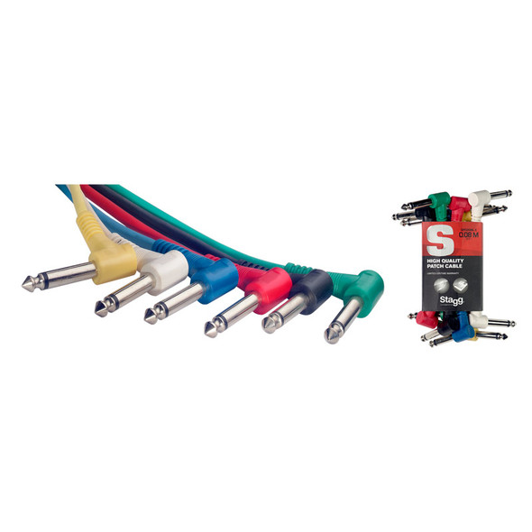 Stagg SPC010L E 10cm/4 inch Moulded Right Angled Jack Patch Cables (6 Pack)