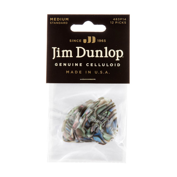 Dunlop CELLULOID ABALONE MED Plectrum Pack of 12
