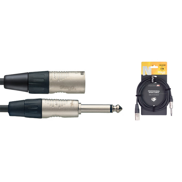 Stagg NAC3PXMR 3m/10ft Unbalanced Male Jack to Male XLR Cable