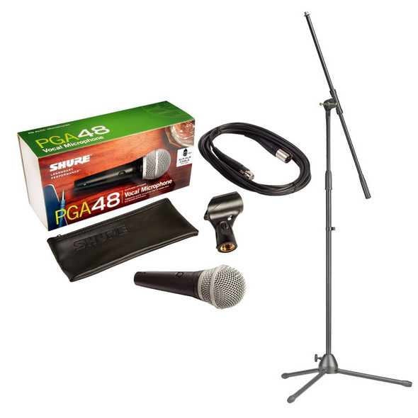 Shure PGA48-XLR Handheld Dynamic Microphone inc. Cable and Stand