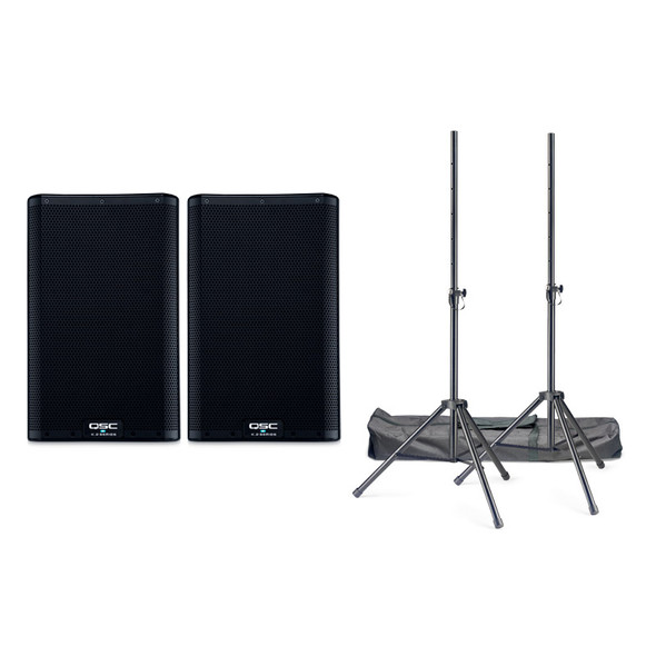 QSC K8.2 Active PA Speaker Bundle Including Stands and Cables