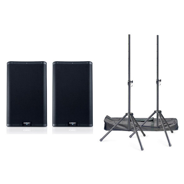 QSC K10.2 Active PA Speaker Bundle Including Stands and Cables