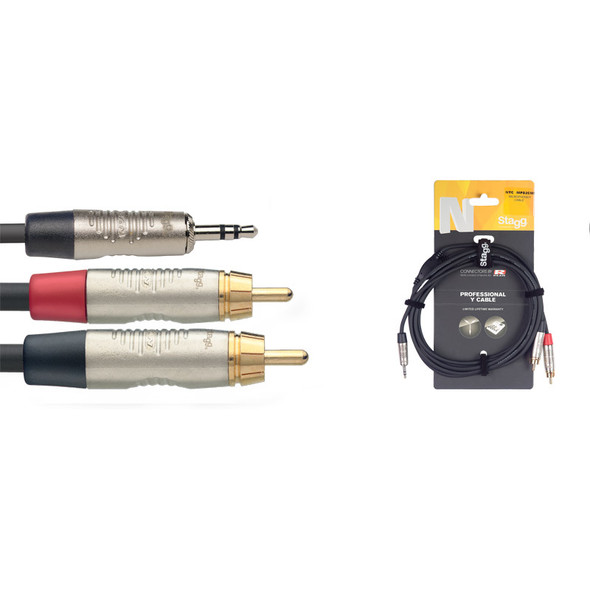 Stagg NYC1.5/MPS2CMR 1.5m/5ft Stereo Minijack to Twin Male RCA Phono Cable