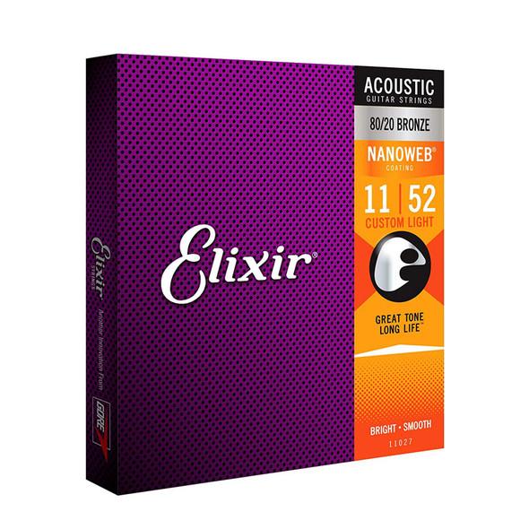 Elixir Nanoweb 80/20 Bronze Custom-Light Acoustic Guitar Strings 11-52