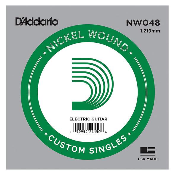 D'Addario NW048 Nickel Wound Electric Guitar Single String, .048