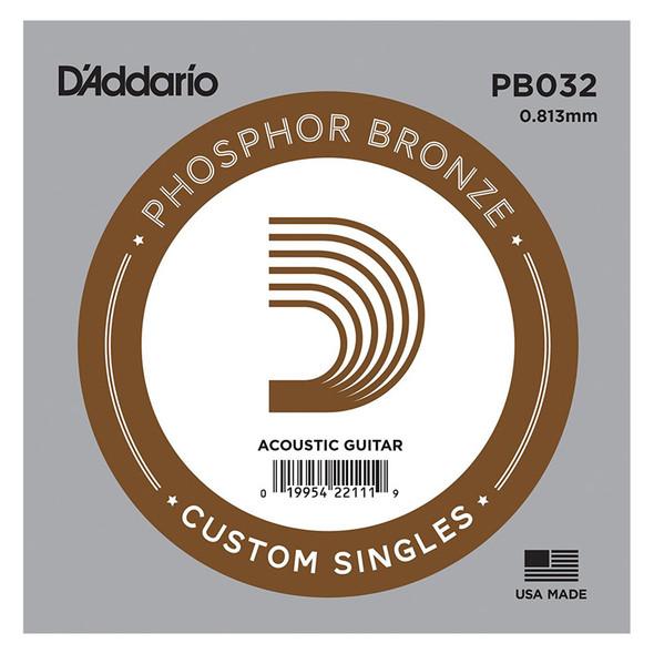 D'Addario PB032 Phosphor Bronze Wound Acoustic Guitar Single String, .032