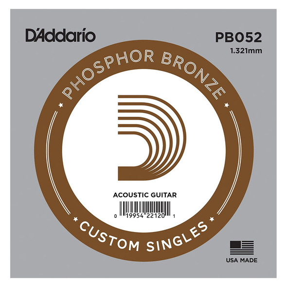 D'Addario PB052 Phosphor Bronze Wound Acoustic Guitar Single String, .052