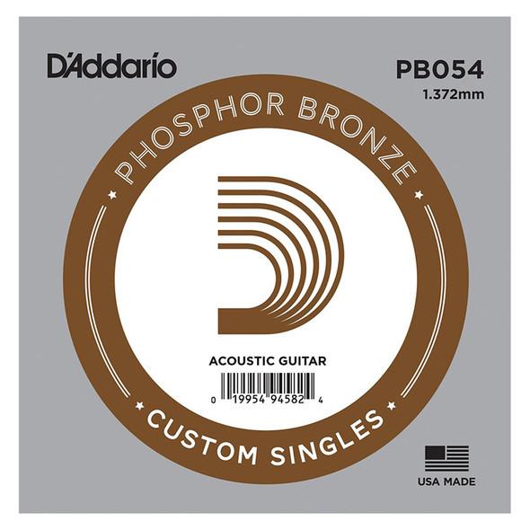 D'Addario PB054 Phosphor Bronze Wound Acoustic Guitar Single String, .054