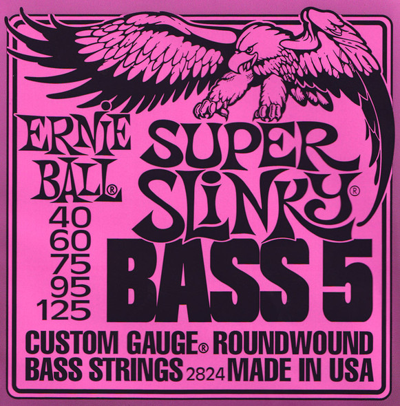 Ernie Ball 5-String Super Slinky Bass Guitar Strings 40-125