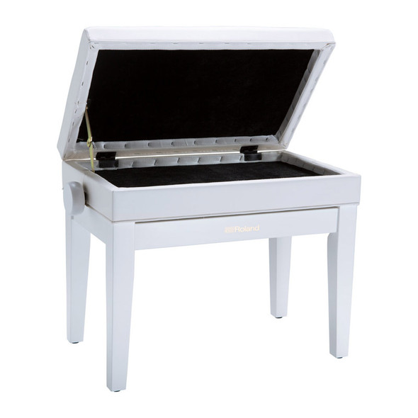 Roland RPB-400WH Rise & Fall Piano Bench w. Storage, White, Cushion Top