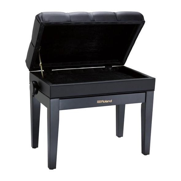 Roland RPB-500BK Rise & Fall Piano Bench w. Storage, Black, Cushion Top